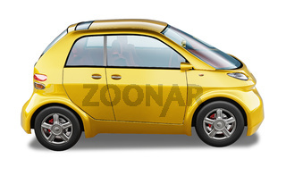 Yellow modern generic small city car.