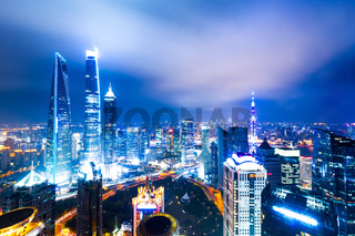 cityscape and skyline of shanghai at night