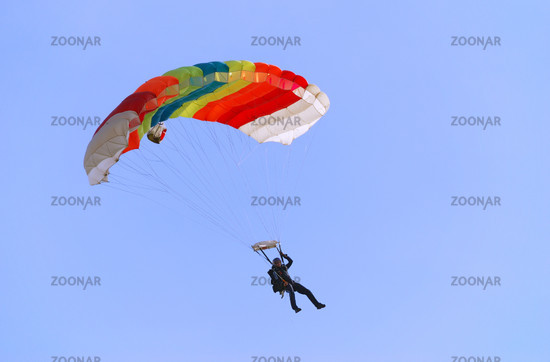 Parachutist turning right