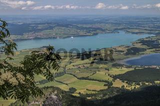 Aussicht vom Tegelberg auf Forggensee (Mitte) und Bannwaldsee (rechts)