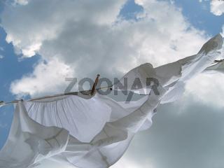 Wäsche auf Wäscheleine