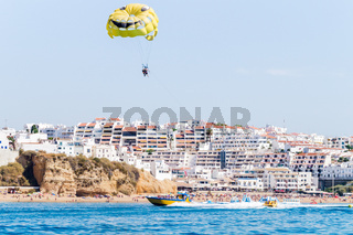 Inside view of the Parasailing experience with speed boat and boat tour experiences in Albufeira, Algarve PortugalBenagil Sea Cave on Praia de Benagil, Benagil Beach Algarve Portugal.