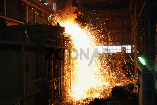 smelting of the metal in the ironworks