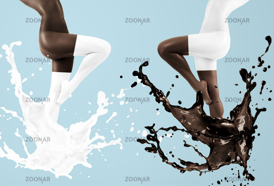 Women dancing with milk and chocolate
