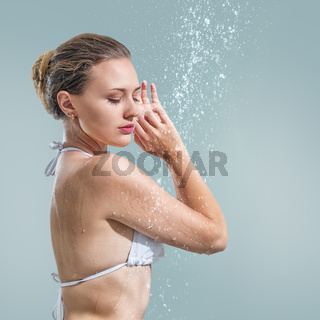Woman enjoying shower