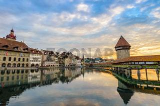 Lucerne sunrise city skyline and Chapel Bridge, Lucerne (Luzern), Switzerland
