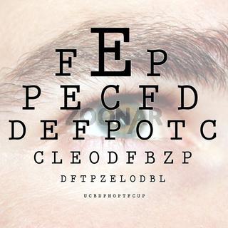 Sehtest mit einem ABC beim Augenarzt