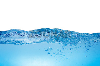 Level of blue water on a white background