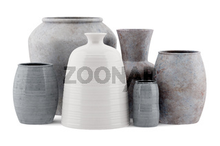 six ceramic vases isolated on white background
