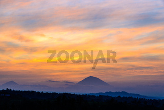 Look at volcano Gunung Agung Summit at sunrise, Jatiluwih