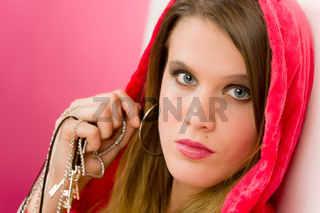 Fashion model - young woman in pink