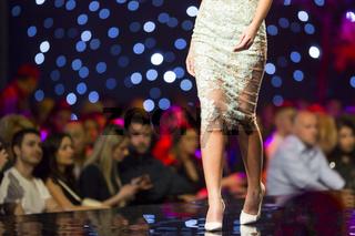 Fashion show runway beautiful flower dress