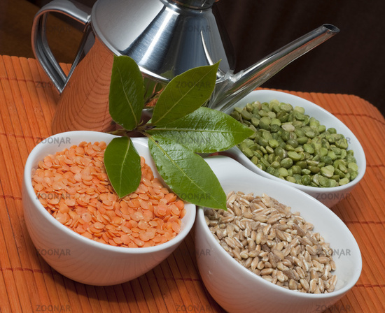 Chickpeas, peas and pearl barley