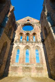 Internal view of the ruins of Medieval San Galgano Abbey near Siena, Italy