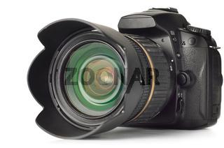 professional digital photo camera isolated on white