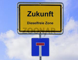 Verkehrsschild mit Diesel und Fahrverbot