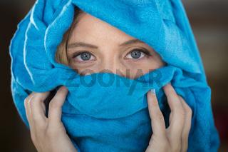 Blonde Model In A Headscarf