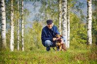 Man dog meadow