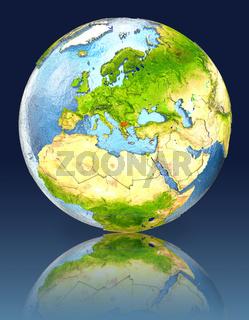 Macedonia on globe with reflection