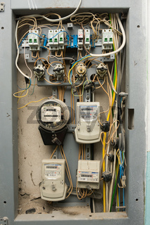 Volgograd, Russia - October 10, 2016: Electrical panels with electricity meters, installed on the floor of a multistory apartment building