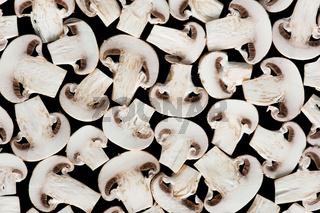 Sliced champignon mushrooms
