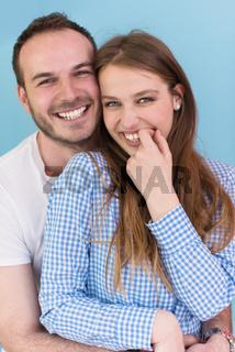 couple isolated on blue Background