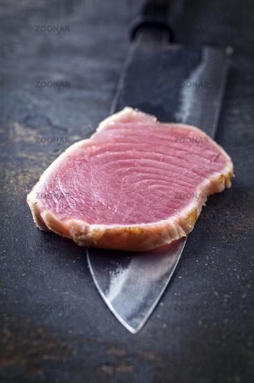 Tuna Tataki Filet on a Yanagiba Blade