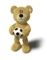 Nhi Bear - Holding a soccer ball