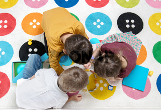 Children playing together like a team