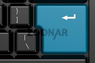 Blue enter key on black keyboard