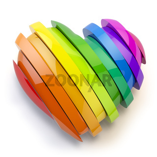 Heart with colors of gay pride LGBT community. Homosexual relationships or gay love concept.