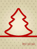 Christmas greeting card with red ribbon tree