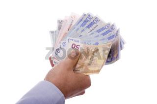 Hand mit Geldscheinen