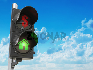 House and dollar symbols on the traffic light. Savings or real estate investment concept.