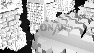 Abstract greeble cubes surface on black background. 3d rendering