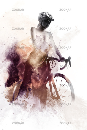 Woman with a bicycle combined with an abstract watercolor. Digital art