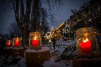 lightning candle decoration at christmas market