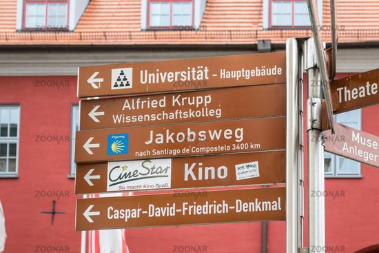 Wegweiser in Greifswald, Mecklenburg-Vorpommern