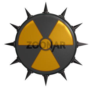 radioaktiv-symbol mit stacheln auf weißem hintergrund - 3d illustration