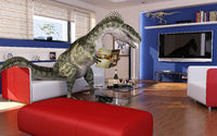 Modern living room with a theropod dinosaur, sitting on the sofa