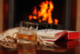 Whiskey by the fireplace