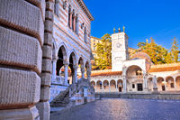 Ancient Italian square arches and architecture in town of Udine