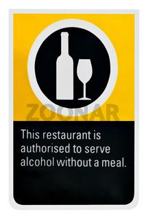 Hinweisschild: Erlaubnis zum Alkoholausschank in einem australischen Restaurant