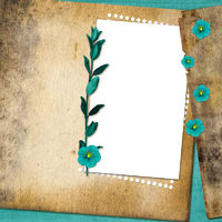 Sheet with flowers on old grunge background