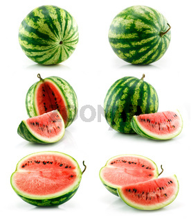 Set of Ripe Green Watermelon Isolated on White