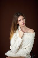 Model posing in studio during classic test shoot