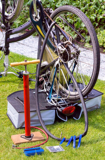 Bicycle upside down flat tire repair