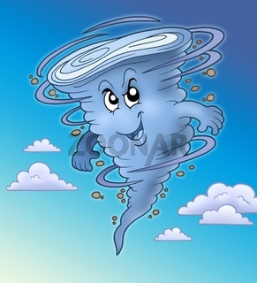 Evil cartoon tornado - color illustration.