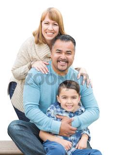 Mixed Race Hispanic and Caucasian Family on White