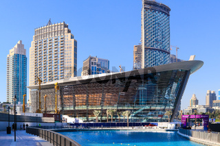 DUBAI, UAE - NOW 29: Dubai Opera Arts Centre, as seen on Now 29, 2017 at The Opera District in Downtown, Sheikh Mohammed bin Rashid Boulevard, Dubai, United Arab Emirates